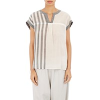 Pas De Calais Striped V Neck Blouse White