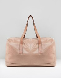 Urbancode Real Leather Holdall In Rose With Snake Embossed Handles Rose Pink