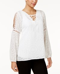 Ny Collection Sheer Illusion Peasant Top White