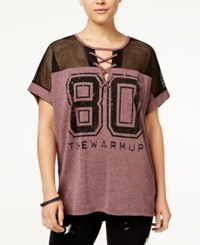 Jessica Simpson The Warm Up Lace Up Football T Shirt Fig