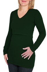 Women's Nurture Elle Long Sleeve Nursing Maternity Tee Green Forest