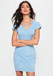 Missguided Blue Washed Cut Out Neck Detail Bodycon Dress