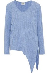 Charli Tie Front Ribbed Knit Top Light Blue