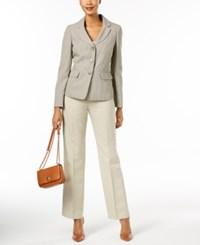 Le Suit Three Button Pantsuit Ivory Taupe