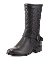 Neiman Marcus Reaves Quilted Napa Moto Boot Black