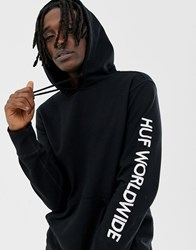 Huf Mission Hoodie With Embroidered Sleeve Logo In Black