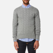 Polo Ralph Lauren Men's Cotton Cable Knitted Jumper Fawn Grey Heather