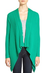 Chaus Drape Front Rib And Cable Knit Cardigan Bright Fern