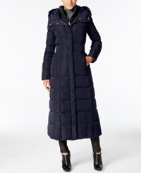 Cole Haan Signature Hooded Down Maxi Puffer Coat Navy