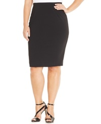 City Chic Plus Size Exposed Zipper Pencil Skirt Black