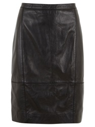 Mint Velvet Leather Pencil Skirt Black