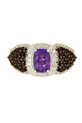 Phillip Gavriel Amethyst Smokey Quartz And Diamond Fancy Ring Purple