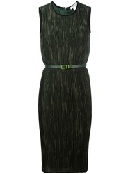 Max Mara Belted Fitted Dress Green