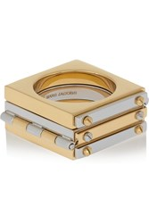Marc By Marc Jacobs Gold And Gunmetal Tone Hinged Ring Metallic