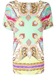 Etro Paisley Printed Boat Neck Long T Shirt Multicolour