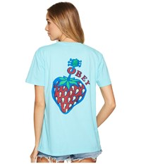Obey Strawberry Tee Turquoise Women's T Shirt Blue