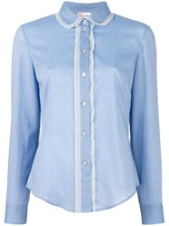 Red Valentino Lace Trim Shirt Blue