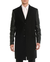 Givenchy Wool And Leather Moto Long Coat Black