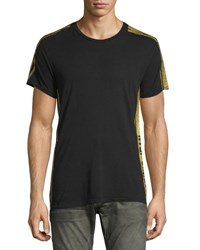 Robin's Jeans Gold Side Striped Short Sleeve T Shirt Black