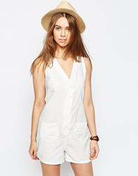 Asos Button Through Casual Woven Playsuit Ivory White