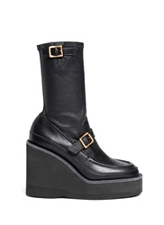 Sacai Leather Loafer Wedge Ankle Boots Black