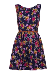 Mela Loves London Floral Fit And Flare Dress Purple