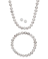 Macy's Sterling Silver Jewelry Set Cultured Freshwater Pearl 7 7 1 2Mm And Crystal 8Mm Necklace Bracelet And Earrings Set Grey