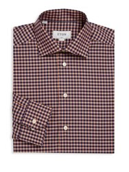 Eton Of Sweden Slim Fit Checkered Dress Shirt Pink Red