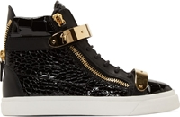 Giuseppe Zanotti Ssense Exclusive Black And Gold Patent Crocodile London High Top Sneakers