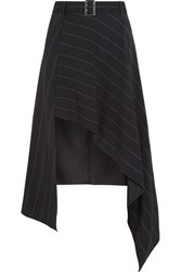Thierry Mugler Belted Asymmetric Pinstriped Crepe Skirt Black