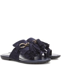 Tod's Suede Sandals Blue