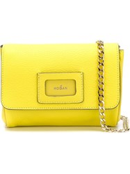 Hogan Textured Flap Closure Cross Body Bag Yellow And Orange