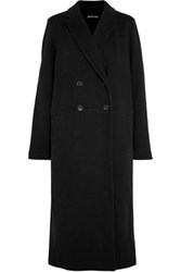 James Perse Double Breasted Cotton Fleece Coat Black