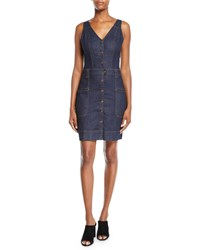 7 For All Mankind Utility Button Front Sleeveless Denim Short Dress Blue