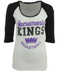 5Th And Ocean Women's Sacramento Kings Side Zone Raglan T Shirt White Black