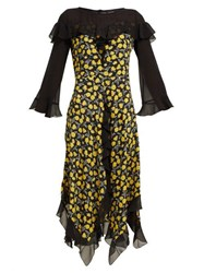 Etro Northumberland Floral Print Silk Midi Dress Yellow Multi