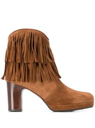 Chie Mihara Fringed Ankle Boots Brown