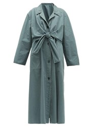 Christophe Lemaire Knotted Cotton Ventile Coat Blue