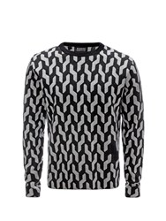 Markus Lupfer Light Grey And Charcoal 3 Colour Graphic Cable Jacquard David Jumper Neutral