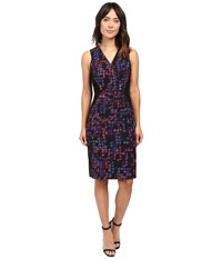 Ellen Tracy Color Block Wrap Sheath Plaid Multi Women's Dress Black
