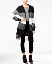 Almost Famous Juniors' Open Front Cardigan With Fringe Trim Black Combo