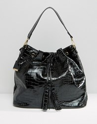 Glamorous Drawstring Backpack In Moc Croc Black Croc