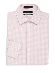 Saks Fifth Avenue Check Pattern Dress Shirt Light Pink