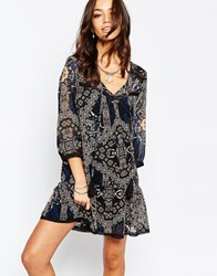 Only Tassle Front Patch Print Dress Multi