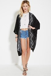 Forever 21 Geo Print Open Front Cardigan Black White