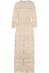 Temperley London Cruz Satin Paneled Lace Gown Cream