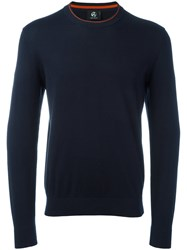 Paul Smith Ps By Contrast Round Neck Jumper Men Cotton L Blue