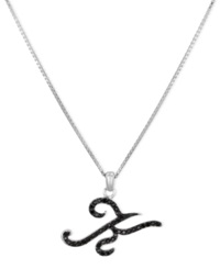 Macy's Sterling Silver Necklace Black Diamond 'K' Initial Pendant 1 4 Ct. T.W.
