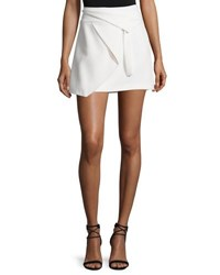 Halston Asymmetric Draped Wrap Skirt Chalk
