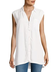 Ck Calvin Klein Solid Spread Collar Top White